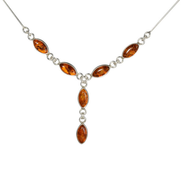 "Sterling Silver Baltic Honey Amber Necklace ""Maja"""