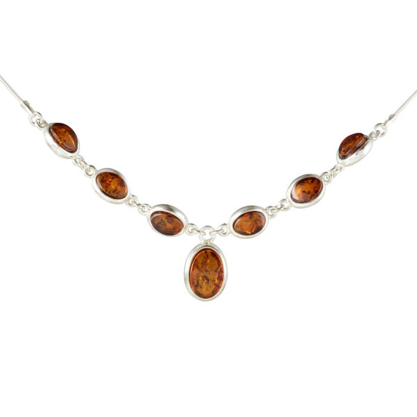 "Sterling Silver and Baltic Honey Amber Necklace ""Diane"""