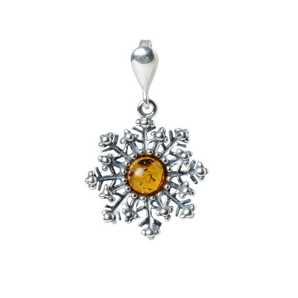 "Sterling Silver and Baltic Amber Pendant ""Snowflake"""