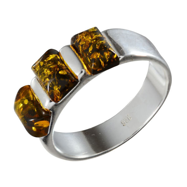 "Sterling Silver and Baltic Amber Ring ""Alma"""