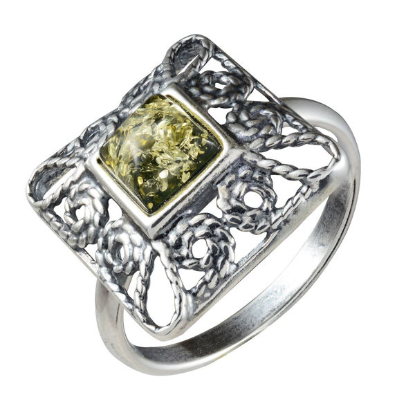 "Sterling Silver and Baltic Green Amber Ring ""Ornella"""