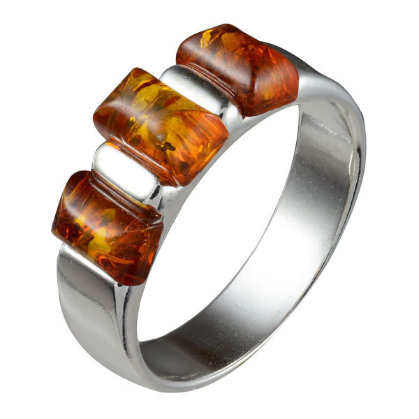 "Sterling Silver and Baltic Honey Amber Ring ""Alma"""