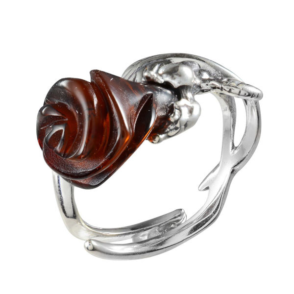 "Sterling Silver Baltic Honey Amber Ring ""Rose"""