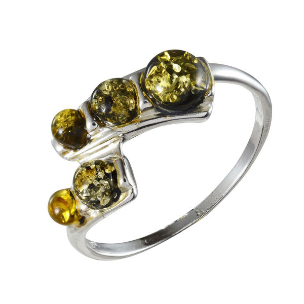 "Sterling Silver and Baltic Green  Amber Ring ""Aria"""