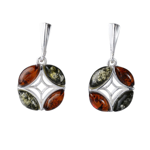 "Sterling Silver and Baltic Amber Stud Earrings ""Aileen"""