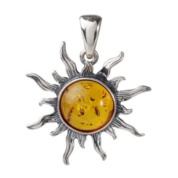 "Sterling Silver and Baltic Amber ""Flaming Sun"" Pendant"