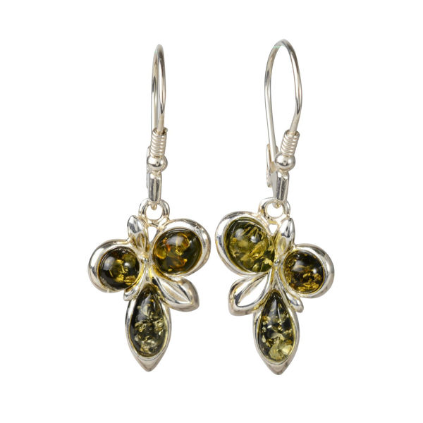 "Sterling Silver and Baltic Green Amber Earrings ""Martina"""