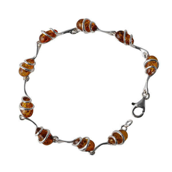 "Sterling Silver Honey Baltic Amber Bracelet ""Zuzanna"""