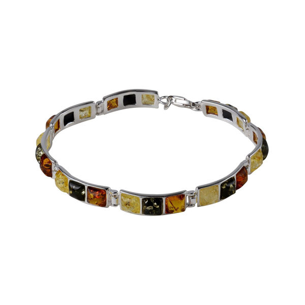 "Sterling Silver Multi-Colored Baltic Amber Bracelet ""Mila"""