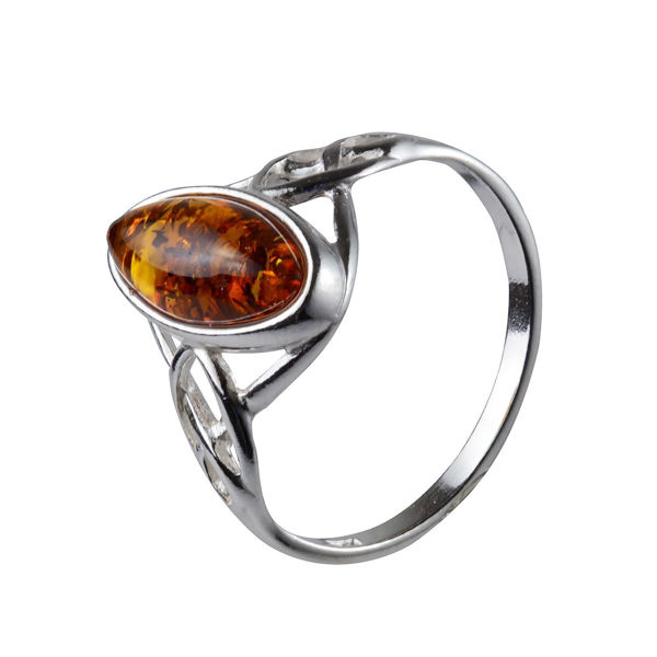 "Sterling Silver and Baltic Honey Amber Ring ""Alani"""