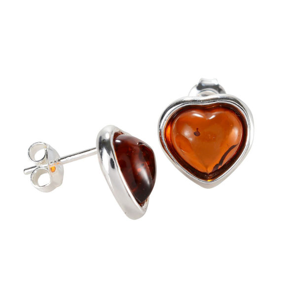 "Sterling Silver and Baltic Honey Amber Stud Earrings ""Hearts"""