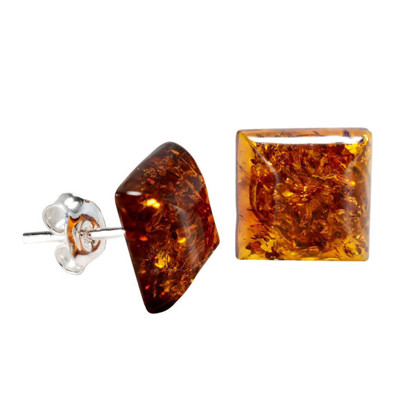 Sterling Silver and Baltic Honey Amber Stud Square Earrings