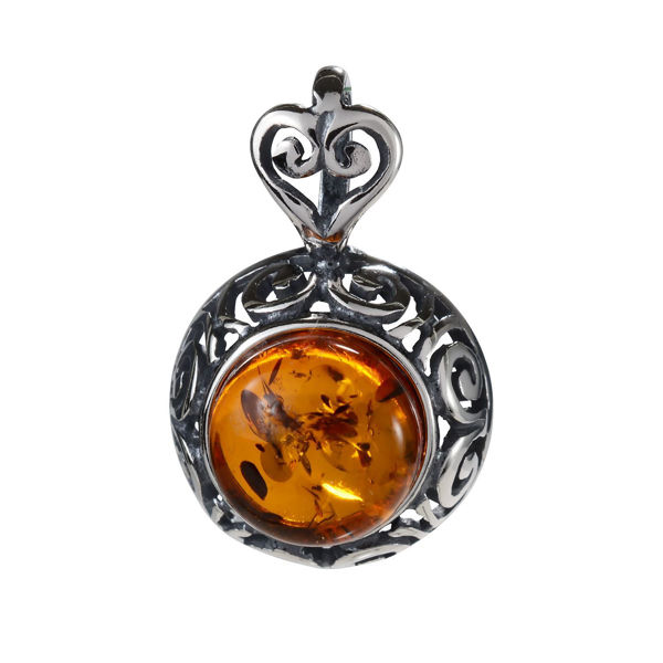 "Sterling Silver and Baltic Amber Pendant ""Greta"""