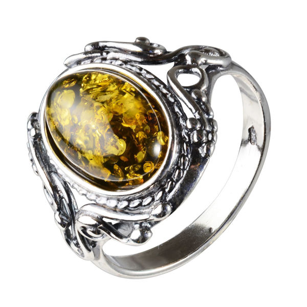 "Sterling Silver and Baltic Ochre Amber Ring ""Georgine"""