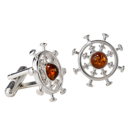 "Sterling Silver and Baltic Honey Amber ""Ship Steering Wheel"" Cufflinks"