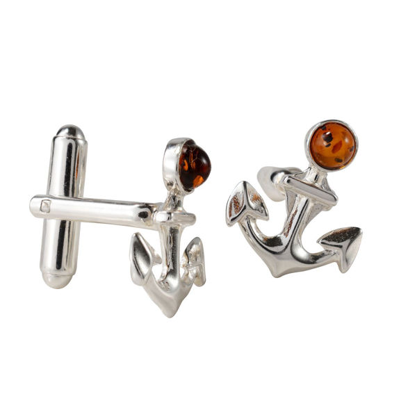 "Sterling Silver and Baltic Honey Amber ""Anchor"" Cufflinks"