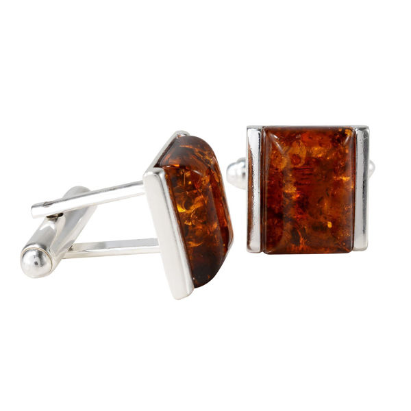 Sterling Silver and Baltic Honey Amber Rectangle Cufflinks