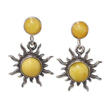 "Sterling Silver and Baltic Butterscotch Amber Earrings ""Sun"""