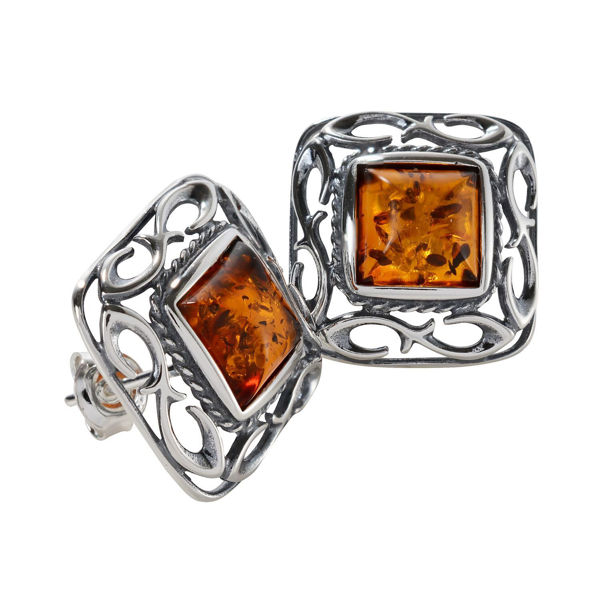 "Sterling Silver and Baltic Honey Amber Stud Earrings ""Ruth"""