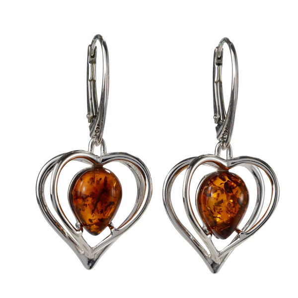 "Sterling Silver and Baltic Honey Amber French Leverback Earrings ""Hearts"""