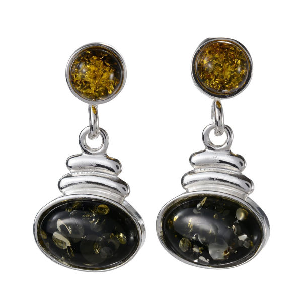 "Sterling Silver and Baltic Green Amber Earrings ""Deirdre"""