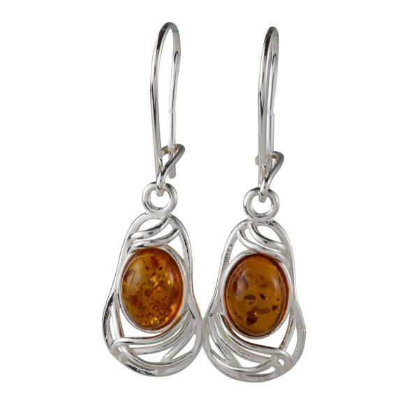 "Sterling Silver and Baltic Honey Amber Earrings ""Mary"""