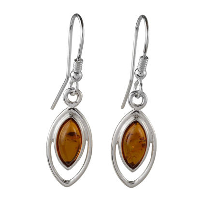 "Sterling Silver and Baltic Honey Amber Earrings ""Patricia"""