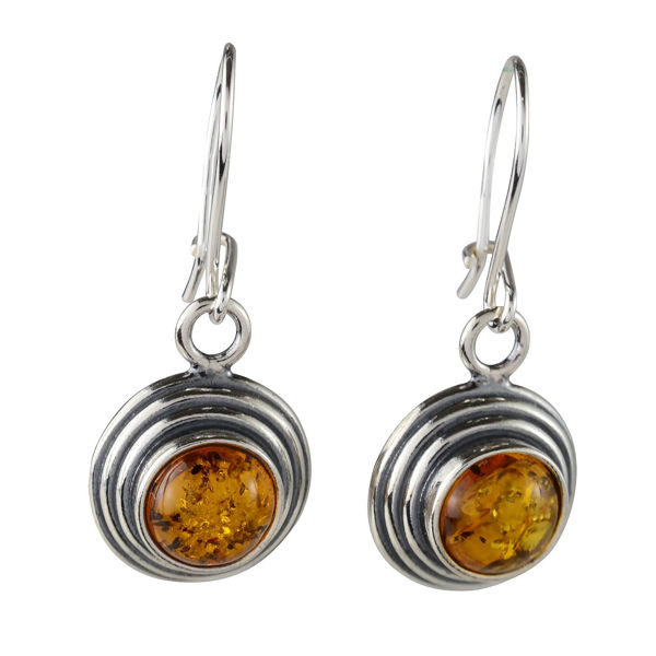 Sterling Silver and Baltic Honey Round Amber Dangling Earrings