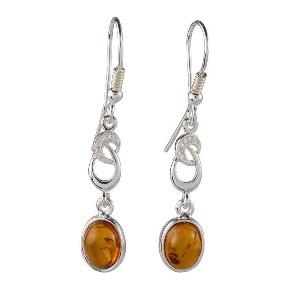 "Sterling Silver and Baltic Fish Hook Honey Amber Earrings ""Amalie"""