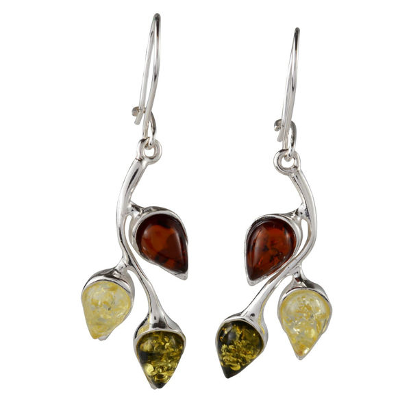 "Sterling Silver Baltic Multicolored Amber Kidney Hook Earrings ""May"""