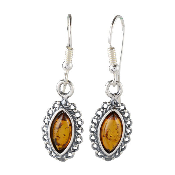 "Sterling Silver and Baltic Honey Amber Fish Hook Earrings ""Alvina"""