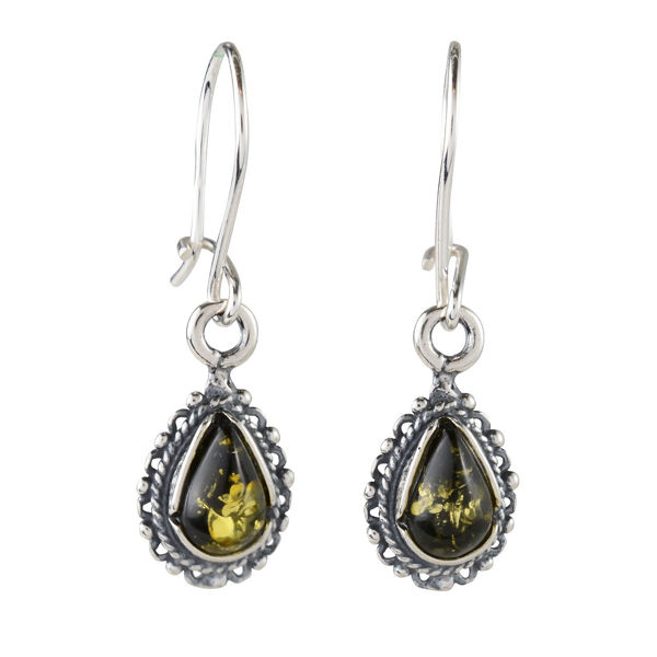 "Sterling Silver and Baltic Green Amber Earrings ""Bajena"""