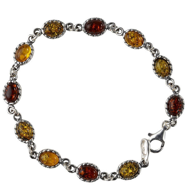 "Sterling Silver Multicolored Baltic Amber Bracelet ""Daisy"""