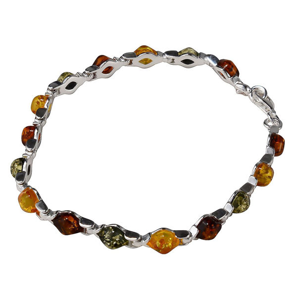 Sterling Silver Multicolored Baltic Amber Bracelet