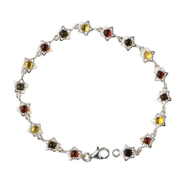 """Sterling Silver Multicolored Baltic Amber Bracelet """"Aster"""""""