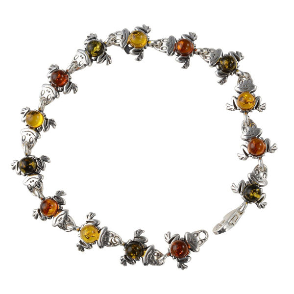 "Sterling Silver Multicolored Baltic Amber Bracelet ""Frogs"""