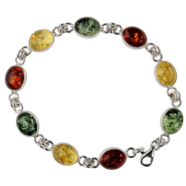 "Sterling Silver Multicolored Baltic Amber Bracelet ""Ivana"""