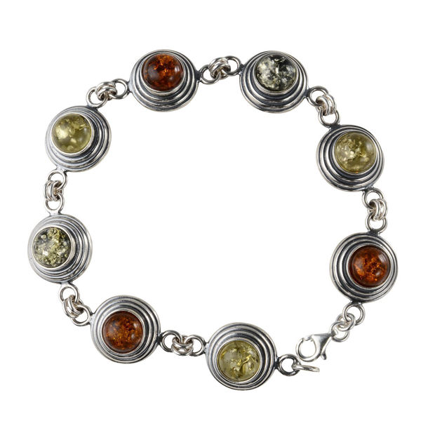 Sterling Silver Multicolored  Baltic Round Amber Bracelet