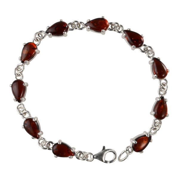 "Sterling Silver Baltic Honey Pear Shaped Amber Bracelet ""Gladie"""