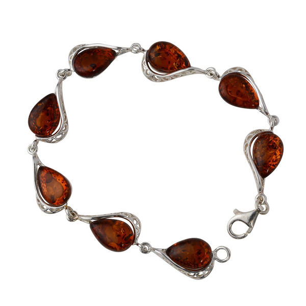"Sterling Silver Honey Baltic Amber Bracelet ""Adele"""