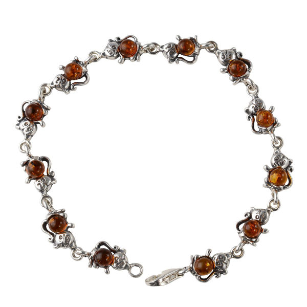 "Sterling Silver Honey Baltic Amber Bracelet ""Cats"""