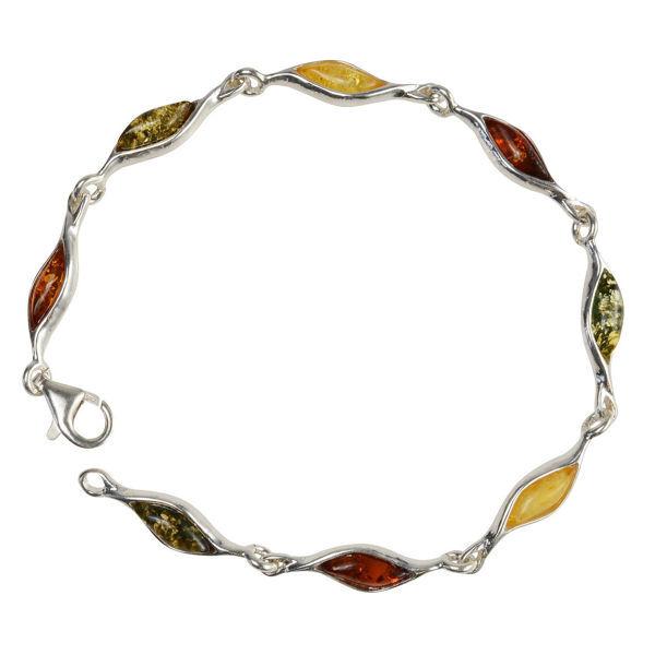 "Sterling Silver Multicolored Baltic Amber Bracelet ""Alexa"""