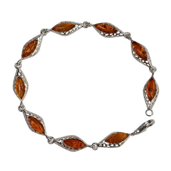 "Sterling Silver Honey Baltic Amber Bracelet ""Amaya"""