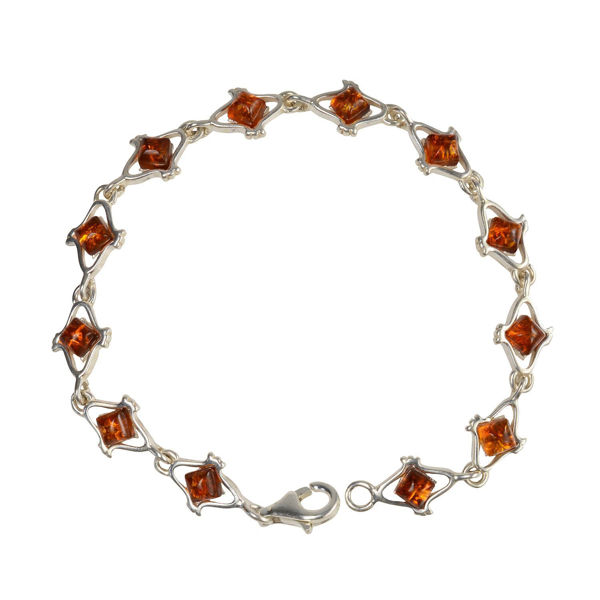 "Sterling Silver Honey Baltic Amber Bracelet ""Laura"""
