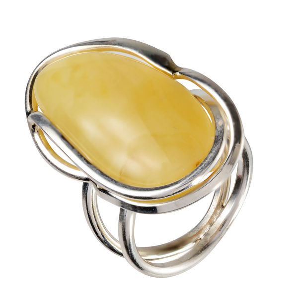 Sterling Silver and Baltic Butterscotch Amber Ring; size 8