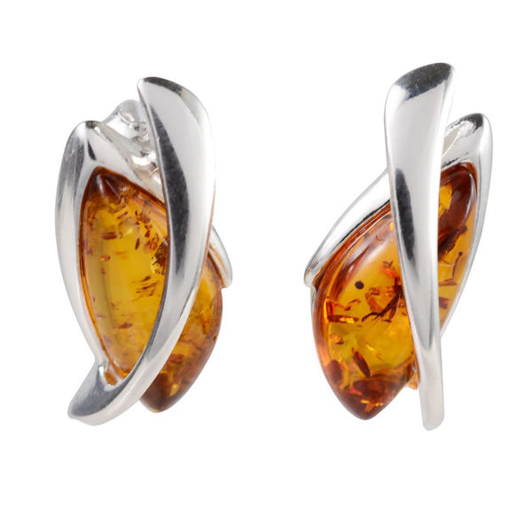 "Sterling Silver and Baltic Honey Amber Earrings ""Lena"""