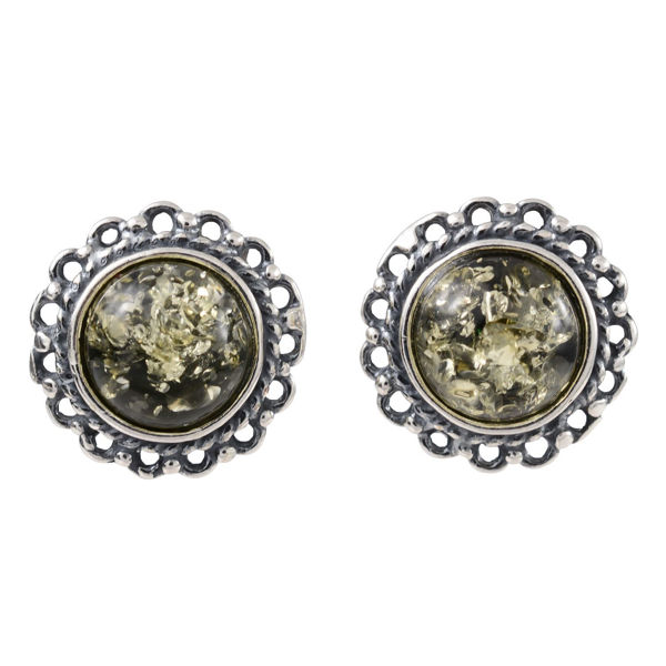 "Sterling Silver and Baltic Green  Amber Stud Earrings ""Anika"""