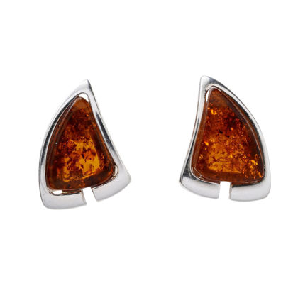"""Sterling Silver and Baltic Honey Amber Stud Earrings """"Hailee"""""""