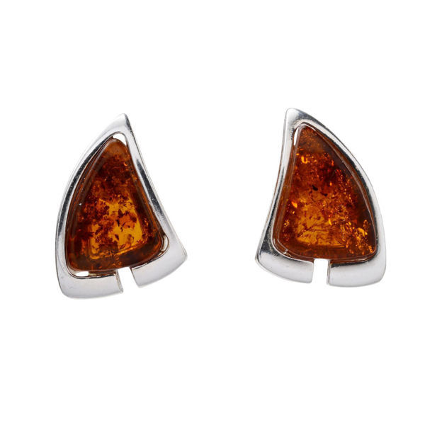 "Sterling Silver and Baltic Honey Amber Stud Earrings ""Hailee"""