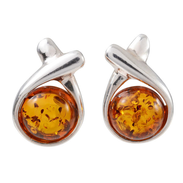 "Sterling Silver and Baltic Honey Amber Stud Earrings ""Sorina"""